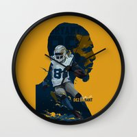nfl Wall Clocks featuring Dez Bryant by bonggg