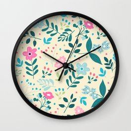 Colorful Floral Pattern - Beige Wall Clock