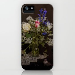 Still life with flowers, books and bird iPhone Case