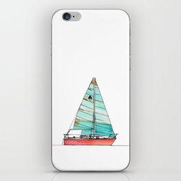 Cataline Watercolor Sailboat in Blue Sail iPhone Skin