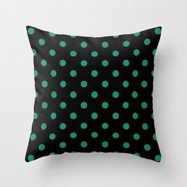 Extra Large Elf Green Polka Dots on Black Throw Pillow