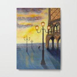 Lowry meets Venice, original painting, acrylics on board Metal Print