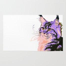 Maine Coon Cat Purple/Peach/Black Rug