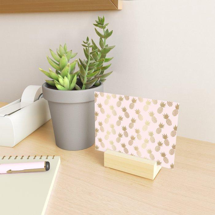 Pink & Gold Pineapples Mini Art Print