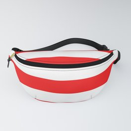 Jumbo Berry Red and White Rustic Horizontal Cabana Stripes Fanny Pack