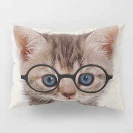 Kitten with Glasses Pillow Sham