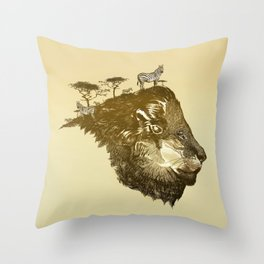 Lion Savanna Throw Pillow