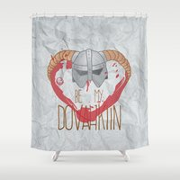 skyrim Shower Curtains featuring be my dovahkiin by laPanny