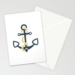 Anchor Ahoi Sailorboat marina Stationery Cards