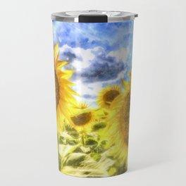 Summer Day Sunflowers Art Travel Mug