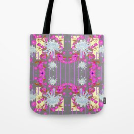 Pink Flowers White Mums Grey Color Garden Art Tote Bag