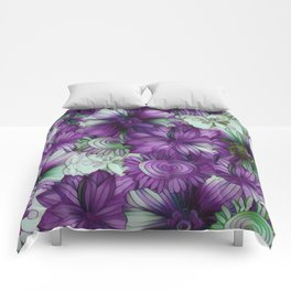 Violets and Greens Comforters