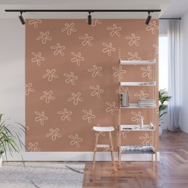 Free Flowers Minimalist Monochrome Abstract Floral Pattern in Clay Wall Mural
