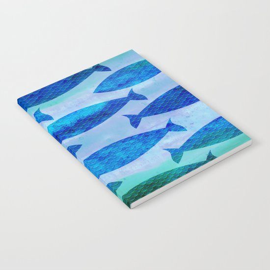 Blue Turquoise GreenWatercolor Fish Pattern Notebook