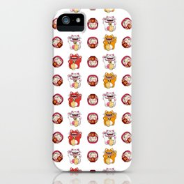 Colorful Maneki - neko pattern design iPhone Case