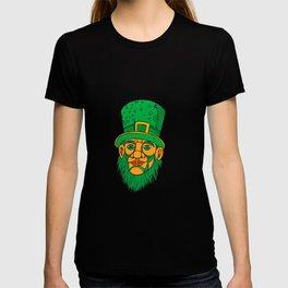 Irish Leprechaun Mono Line Color T-shirt
