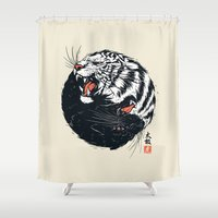 tiger Shower Curtains featuring Taichi Tiger by Steven Toang