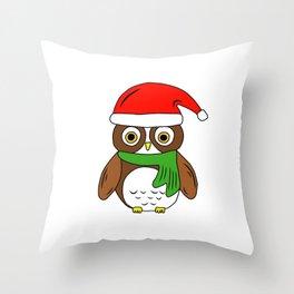 Santa Christmas Owl Throw Pillow