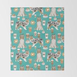 Shetland Sheepdog blue merle sheltie dog breed coffee pattern dogs portrait sheepdogs art Throw Blanket