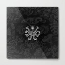 Octopus2 (Black & White, Square) Metal Print