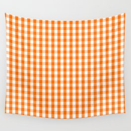 Classic Pumpkin Orange and White Gingham Check Pattern Wall Tapestry