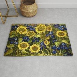 Sunflowers & Blue Irises by Vincent van Gogh Rug