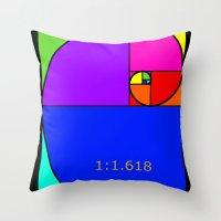 fibonacci Throw Pillows featuring Fibonacci Spiral by Arts and Herbs