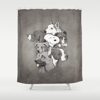 dogs Shower Curtains featuring Dogs by Ronan Lynam