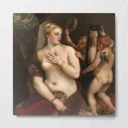 Classic Art - Venus with a Mirror - Titian Metal Print