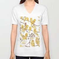 batik V-neck T-shirts featuring Feathered Friends Batik by Rendra Sy