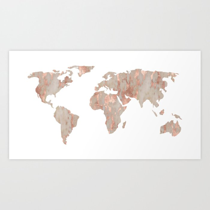 world map marble rose gold shimmer art print