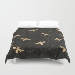 Busy Bees (Black) Duvet Cover