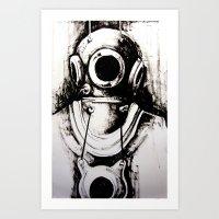 """diver Art Prints featuring """"Diver"""" by Scott Lenaway"""