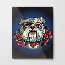 Sugar Skull Bulldog with Roses Metal Print