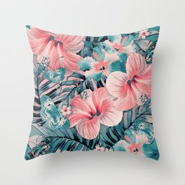 Vintage Jade Coral Aloha Throw Pillow