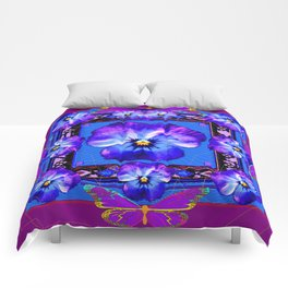 Purple Pansy & Butterflies Melody Abstract Comforters