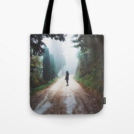 Girl on Nature Path Tote Bag