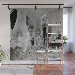 Watercolor Ice 23, Icicles in Black and White Wall Mural