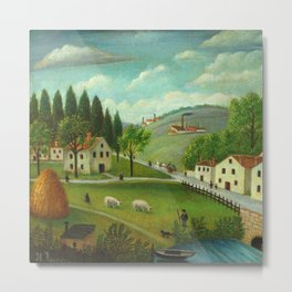 "Henri Rousseau ""Pastoral landscape with stream, fisherman and stroller"" Metal Print"