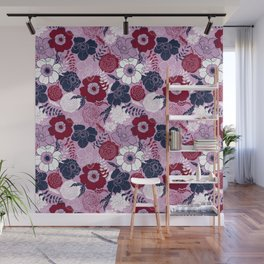 navy blue anemones Wall Mural