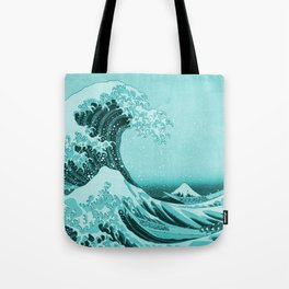 Aqua Blue Japanese Great Wave off Kanagawa by Hokusai Tote Bag