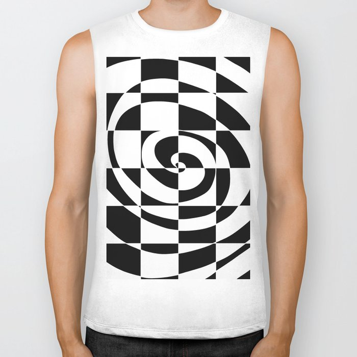 Black And White Swirl Biker Tank