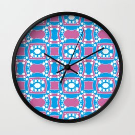 Tiffany - Symmetrical Abstract Art in Blue, Purple and White Wall Clock