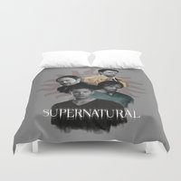 crowley Duvet Covers featuring Supernatural Season 10 Poster by firatbilal