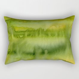 Abstract Green Gold Watercolor Pattern Texture Rectangular Pillow