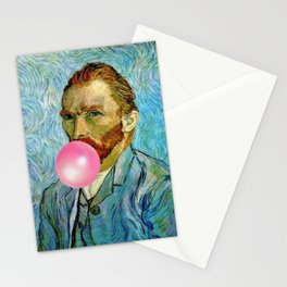 Bubble Gum Van Gogh pop art self portrait painting Stationery Cards