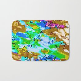 psychedelic splash painting abstract texture in brown green blue pink Bath Mat