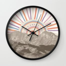 Summerlin Mountain Up // Abstract Vintage Mountains Summer Sun Surf Beach Vibe Drawing Happy Wall Ha Wall Clock