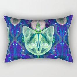 Pixel Galacticat Blue/Green Rectangular Pillow