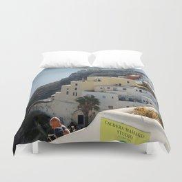Grece Santorini Oia Village | Ville Oia Duvet Cover